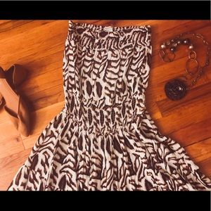 Boston Proper XS animal print tube top maxi